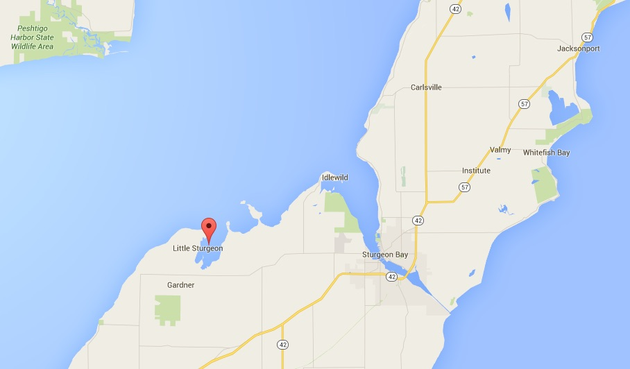 Search area near Little Sturgeon Bay.