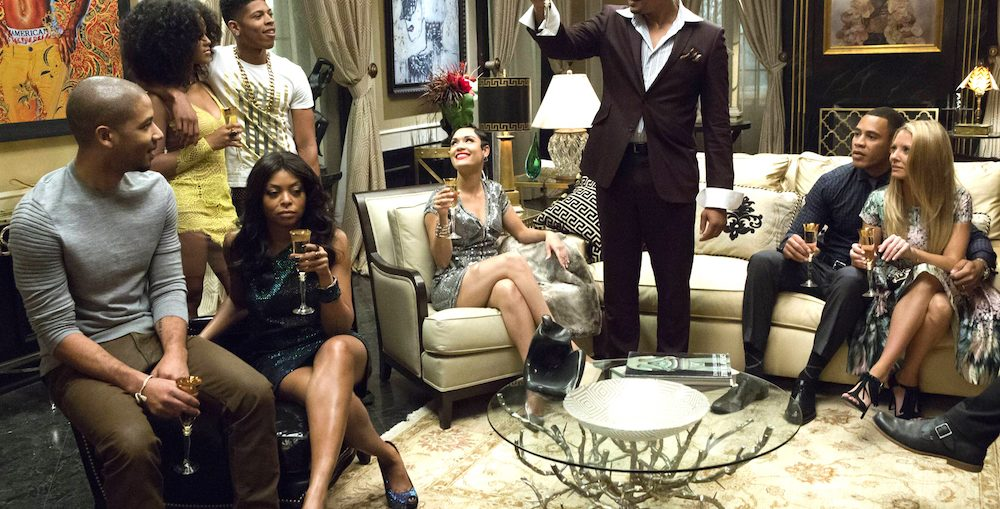 "EMPIRE: Lucious (Terrence Howard) toasts his family in the ""Devil Quotes Scripture"" episode airing Wednesday, Jan. 21 (9:00-10:00 PM ET/PT) on FOX. Pictured L-R: Jussie Smollett, Serayah McNeill, Taraji P. Henson, Bryshere Gray, Grace Gealey, Terrence Howard, Trai Byers and Kaitlin Doubleday. ¨©2014 Fox Broadcasting Co. CR: Chuck Hodes/FOX"