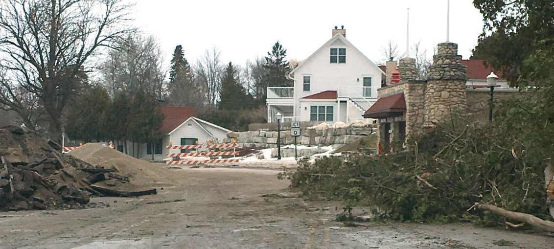 Construction in downtown Ephraim. Door County Sheriff's Office photo