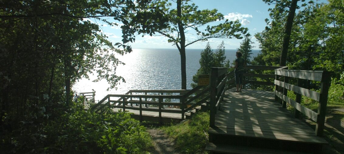 Ellison Bluff County Park offers awe-inspiring views including sunsets and photographic opportunities of the cliffs, Green Bay waters and the many Green Bay Islands.