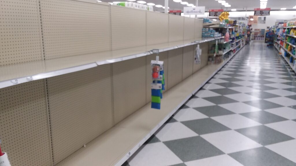 The toilet paper isle in the local grocery store, March 14, 2020. Dan Plutchak/photo.