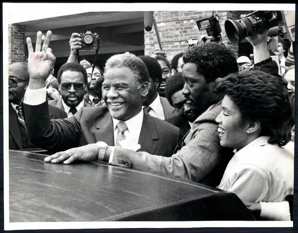 Chicago Mayor Harold Washington at his inauguration at Navy Pier on April 29, 1983. (Photo: Val Mazzenga/Chicago Tribune)