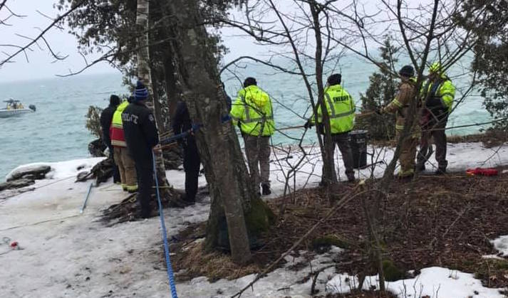 Police say they have recovered a body near Cave Point Park on March 20, 2019. Door County Sheriff's Office photo.