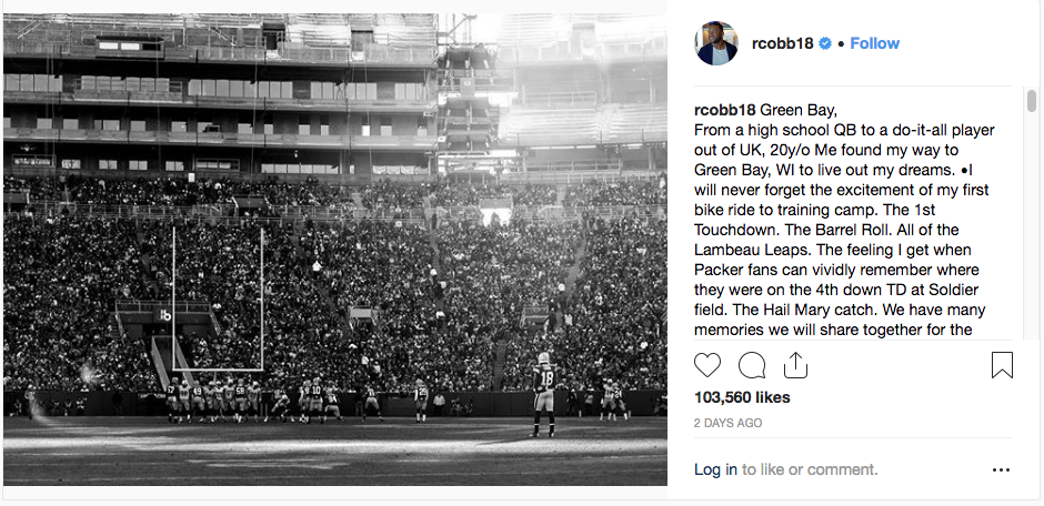 Randall Cobb thanks fans for his days in Green Bay