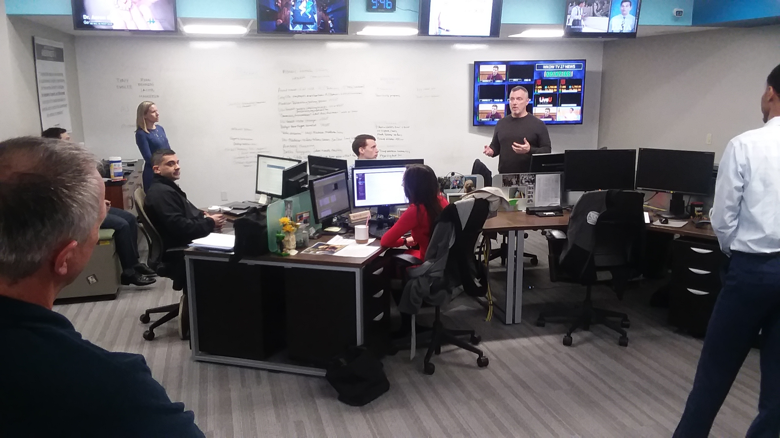 News director Ed Reams of 27 News leads the afternoon staff meeting March 12, 2020, one of the last times the full staff met together in person.